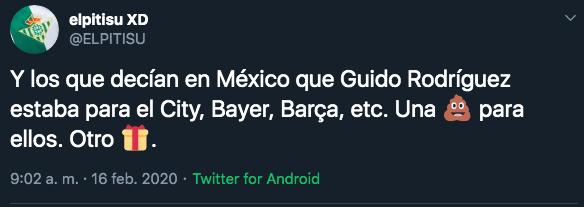 17/02/2020. Guido Rodríguez México Los Pleyers, Usuarios de twitter se quejaron de Guido Rodríguez.