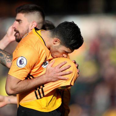23/02/2020. Raúl Jiménez Wolves Norwich Gol Los Pleyers, Raúl Jiménez celebra su doceavo gol en la campaña.