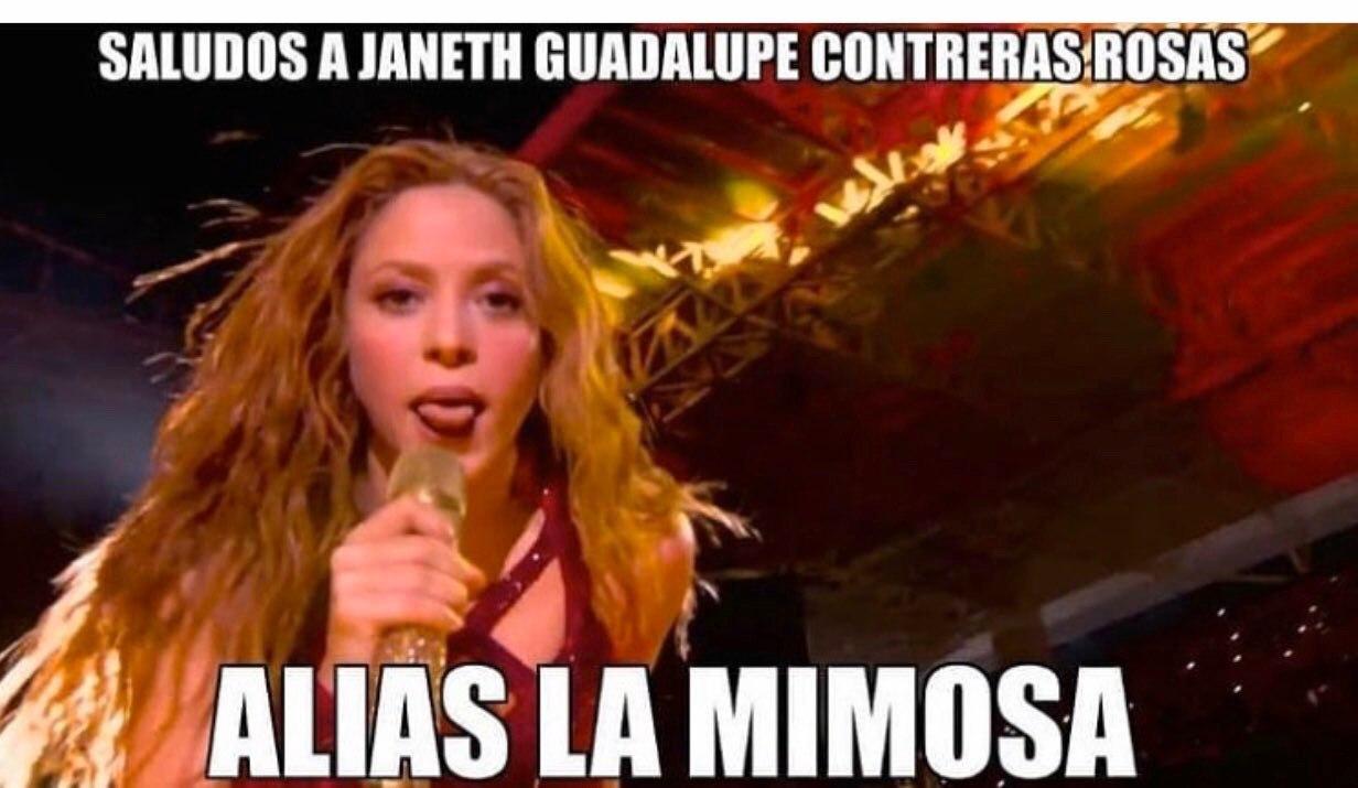 02/02/2020. Shakira La Mimosa Los Pleyers, Meme de Shakira sacando la lengua.