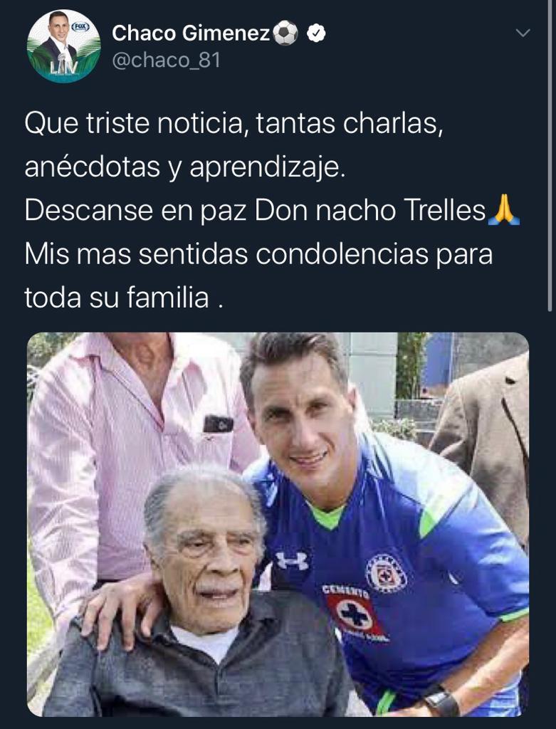 25/03/2020. Chaco Giménez Nacho Trelles Los Pleyers, Tweet del Chaco Giménez a Trelles.