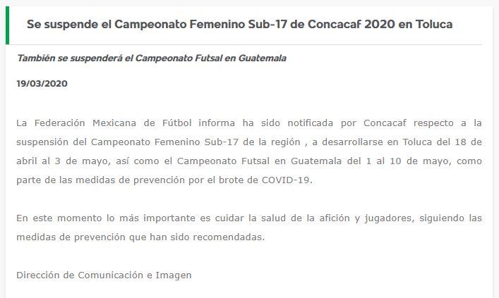 19/03/2020, Concacaf suspende Premundial Femenil Sub 17 por coronavirus