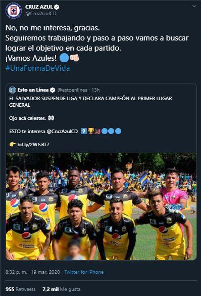 20/03/2020, Cruz Azul no quiere el título de la Liga MX por coronavirus
