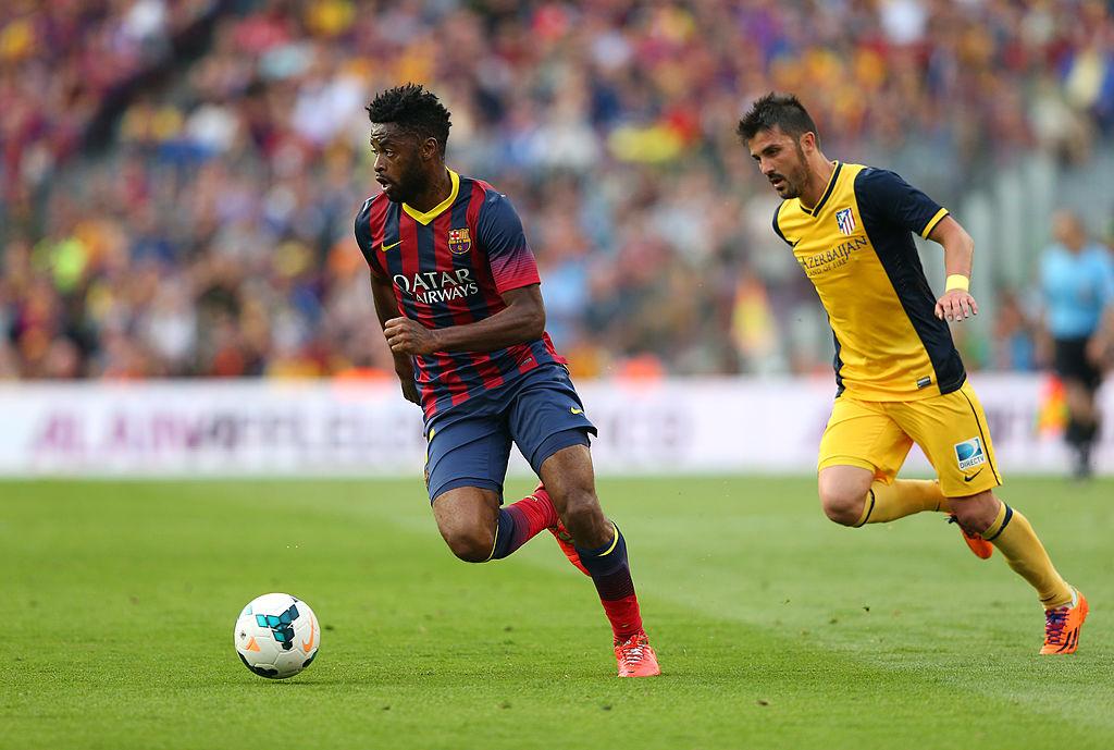 17/05/2014. Futbolistas Coronavirus Despido Sueldo Los Pleyers, Alex Song en un partido con el Barcelona.