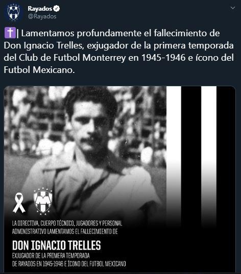 25/03/2020. Monterrey Nacho Trelles Los Pleyers, Tweet del Monterrey.