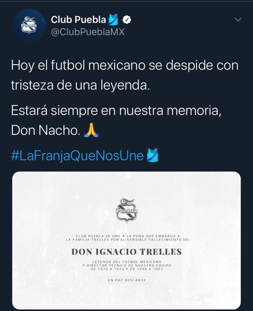 25/03/2020. Puebla Nacho Trelles Los Pleyers, Tweet del Puebla.