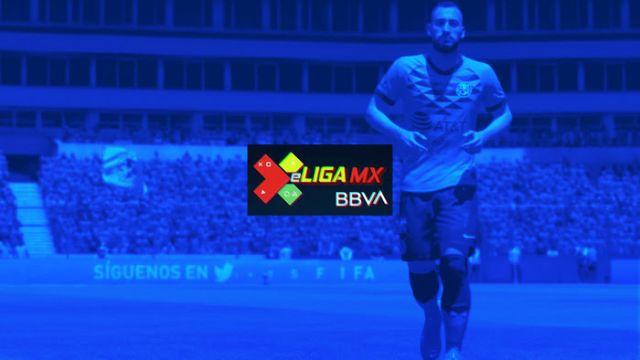 08/04/2020. E Liga Mx Jugadores Representantes Equipos Los Pleyers, Emmanuel Aguilera y el logo de la eLiga MX