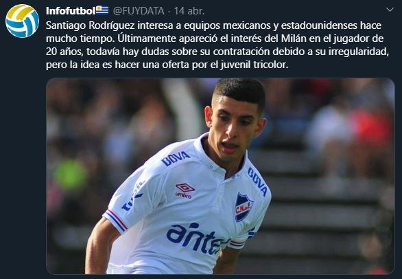 18/04/2020. Santiago Rodríguez Infofutbol America Los Pleyers, Tweet de Infofutbol.