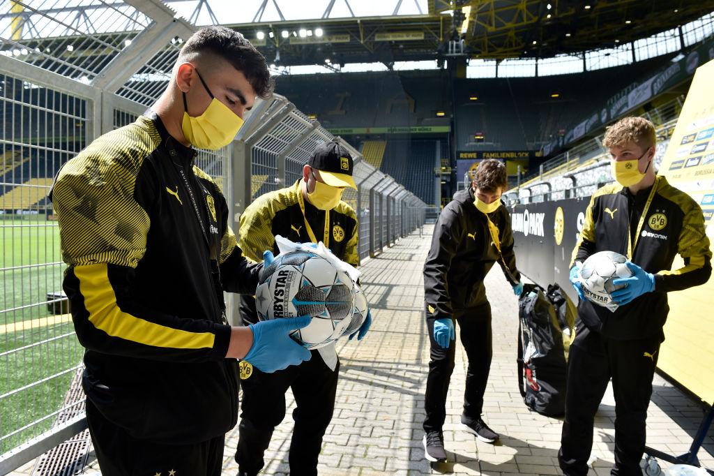 16/05/2020. Jugadores Borussia Dortmund Los Pleyers, Jugadores del BVB con las medidas sanitarias necesarias.