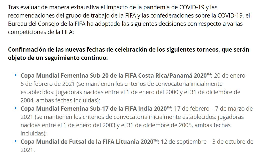 08/03/2020, Acá te dejamos la fecha del Mundial Femenil Sub 20 y Sub 17