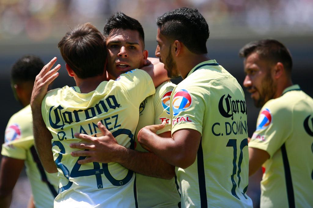 19/03/2017. Silvio Romero Cecilio Domínguez Independiente Aduedos Los Pleyers, Silvio Romero y Cecilio Domínguez celebran un gol con América.