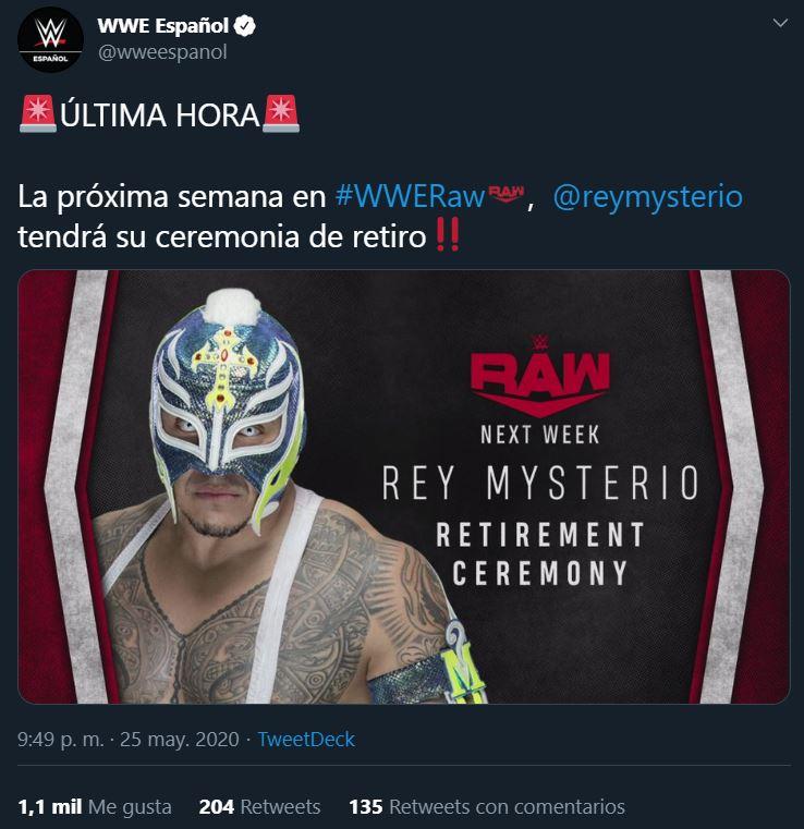 11/10/2019, Lucha Libre: WWE anuncia el retiro de Rey Mysterio