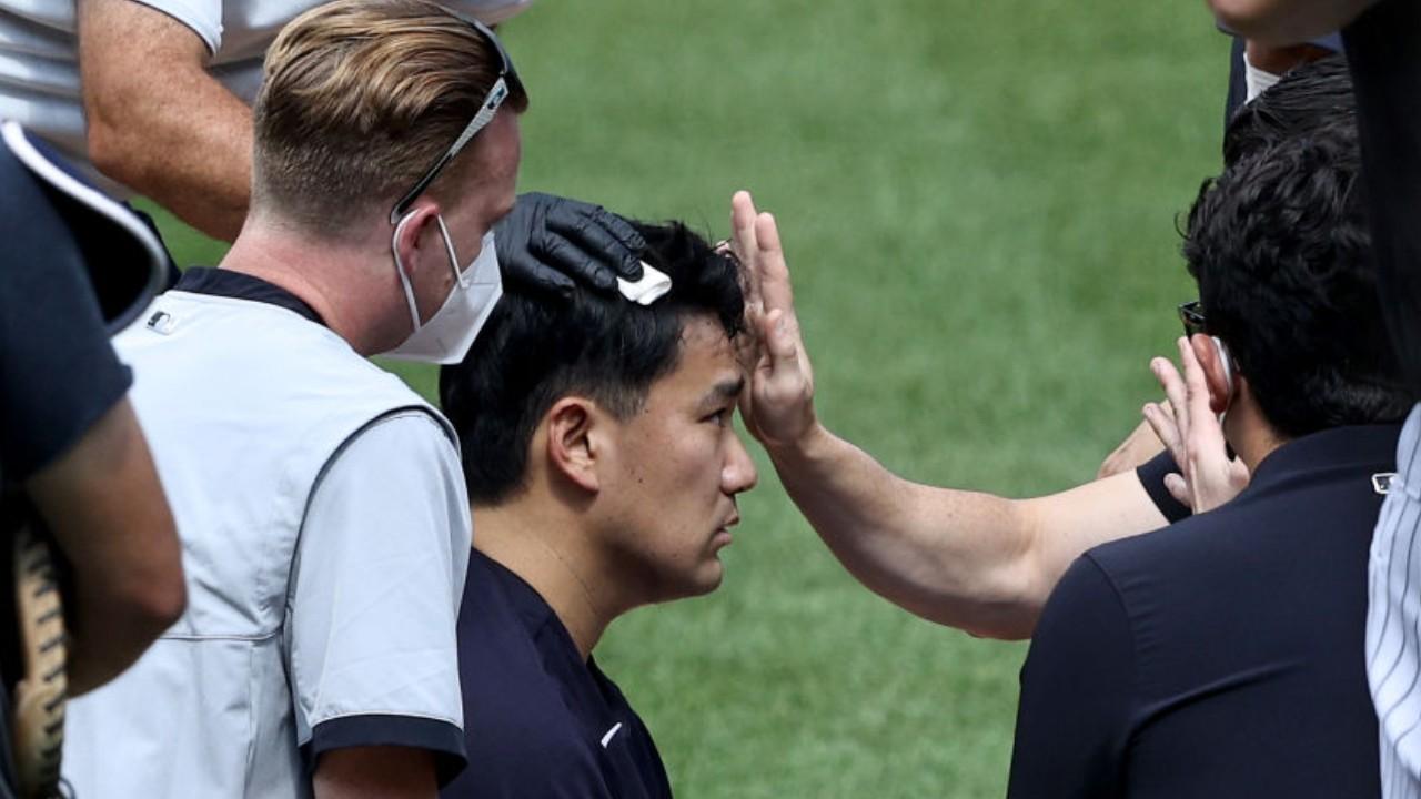 Masahiro Tanaka recibe golpe en la cabeza durante un entrenamiento de los New York Yankees 04/07/2020