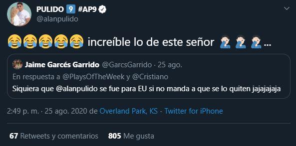 Alan Pulido se burla de crítica de AMLO a altos sueldos de futbolistas