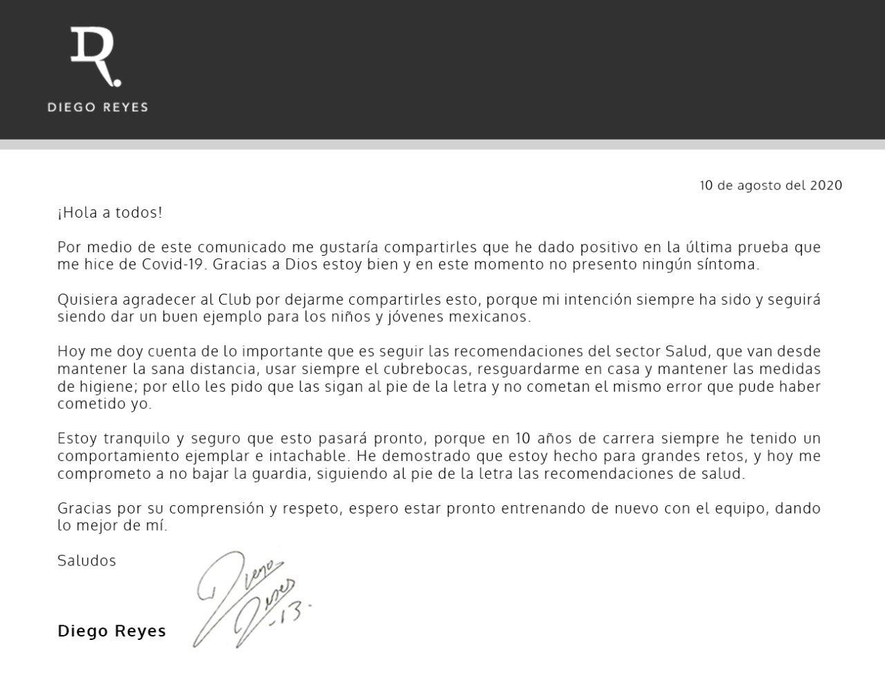 Diego Reyes causa baja de Tigres: da positivo por Covid-19
