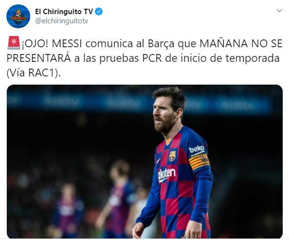 Tuit de la ausencia de Messi de los entrenamientos del Barcelona