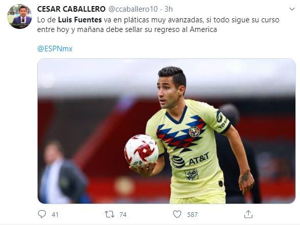 Luis Fuentes América Tuit Regreso Los Pleyers