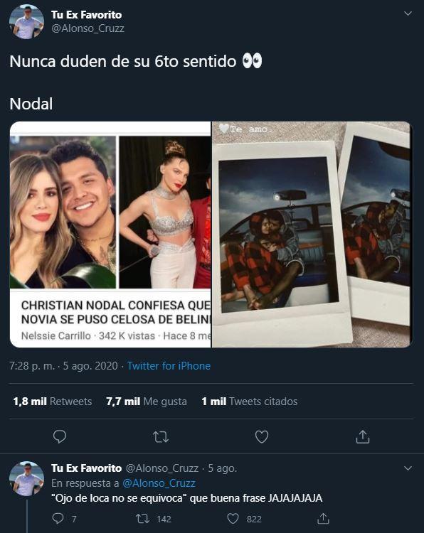 Belinda anunció recientemente su relación con Christian Nodal quien era novio de María Fernanda Guzmán