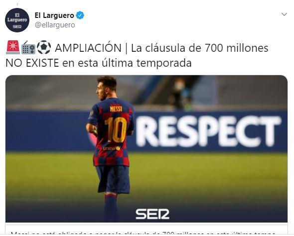 Tuit de la cláusula de rescisión de Messi con el Barcelona