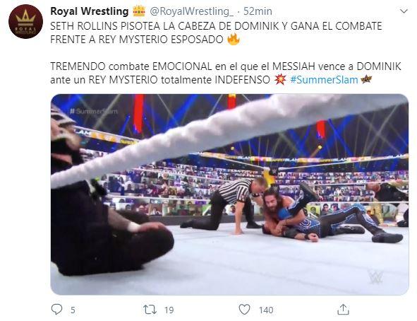 Tuit Pisotón Dominik Mysterio Seth Rollins Los Pleyers