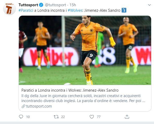 Tuit Prensa Italia Raúl Jiménez Juventus Los Pleyers