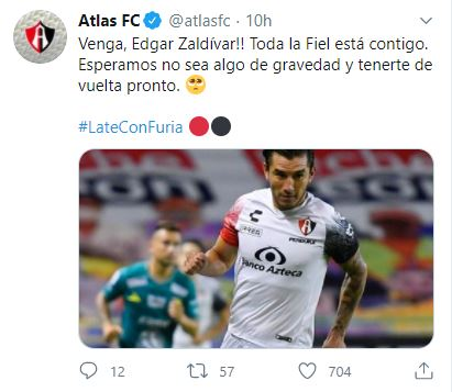 Edgar Zaldívar recibe apoyo del Atlas