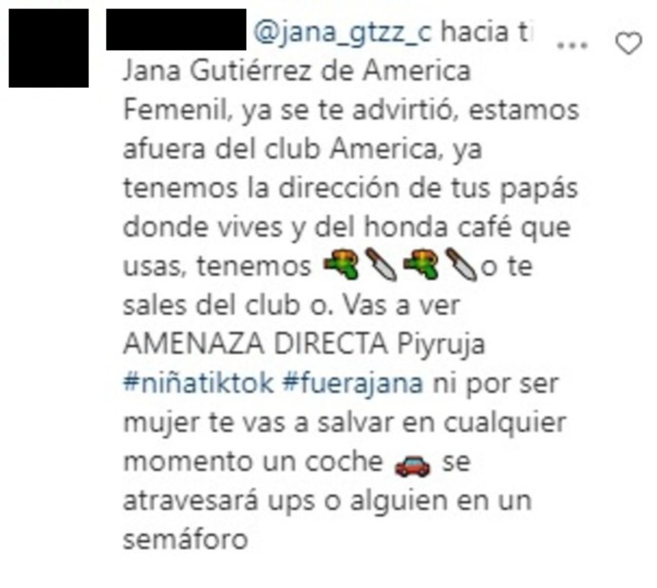 Jana Gutiérrez y amenaza a sus papás