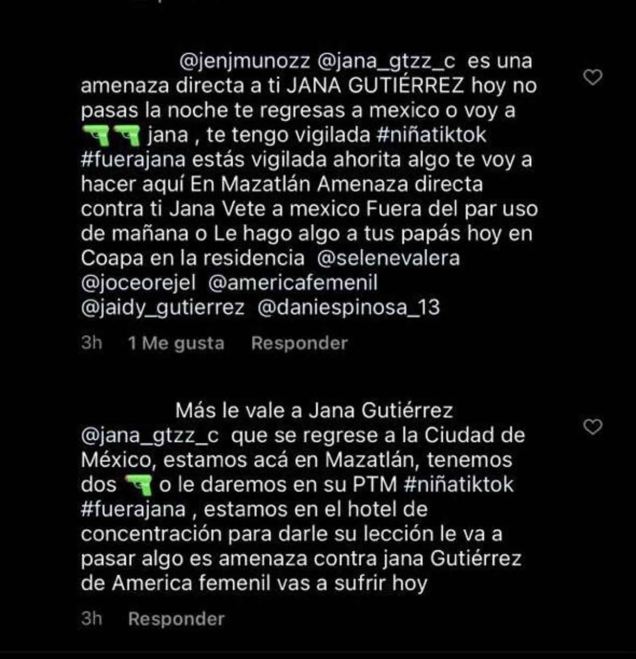 Amenazas de muerte a Jana Gutiérrez