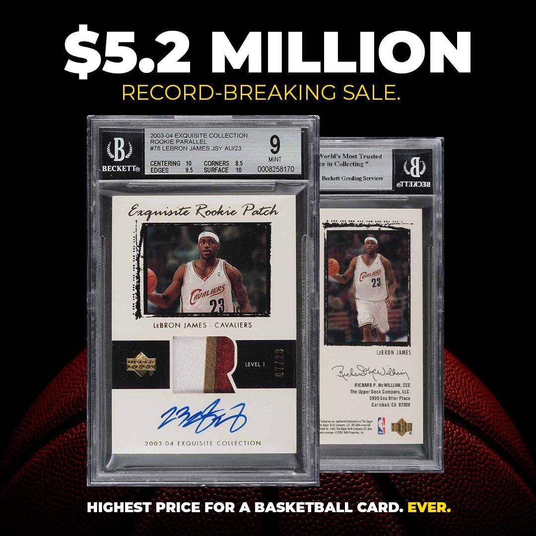Tarjeta LeBron James novato récord venta NBA
