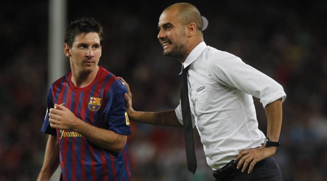 Pep Guardiola Messi Manchester City