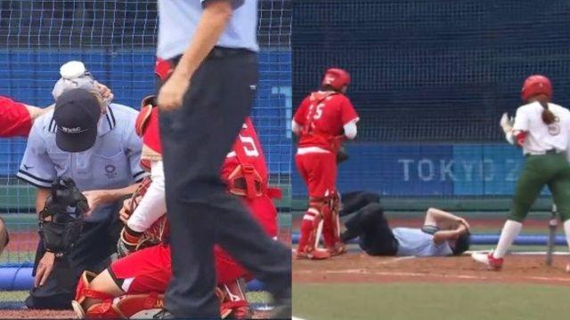 Tokyo 2020: Umpire recibe tremendo pelotazo en el partido entre México y Japón dentro del Softbol