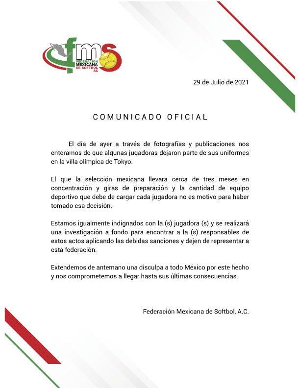 Federación Mexicana de Softbol controversia suscitada por los uniformes