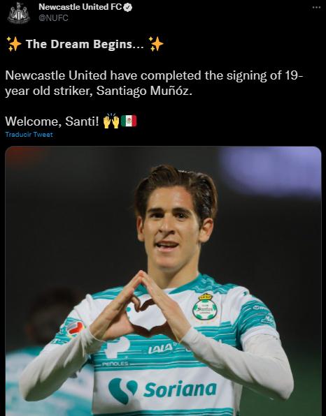 Newcastle United santiago muñoz premier league fichaje