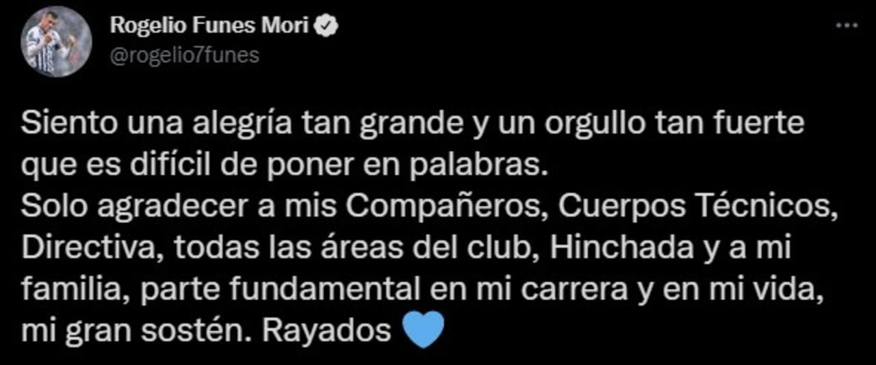 Rogelio Funes Mori manda emotivo mensaje luego de convertirse en máximo goleador de Rayados