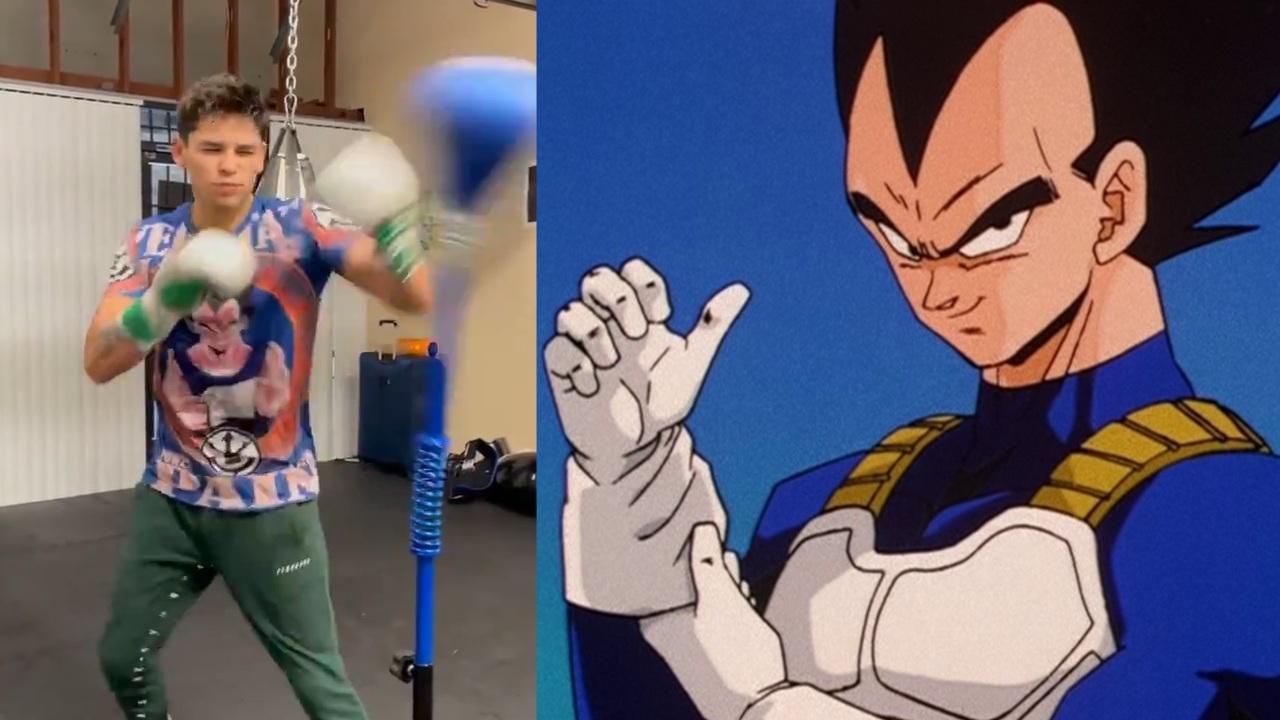 Ryan Garcia libera todo su poder Saiyajin al entrenar con una playera de Dragon Ball