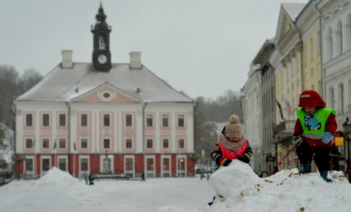 Kids playing in the Town Hall square, Tartu, 2017