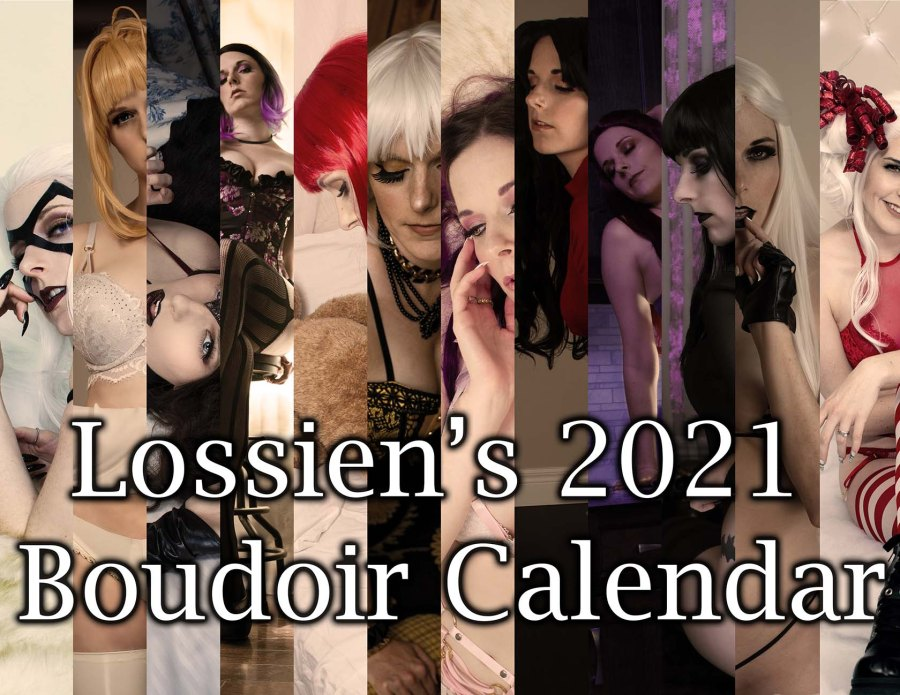 12 photos of Lossien in various boudoir images, side by side in long strips. Overtop, along the bottom, text reads 'Lossien's 2021 Boudoir Calendar'.