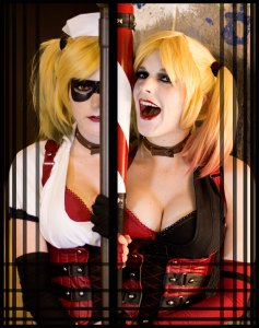 On the left. Lossien is wearing a black mask, white shirt and red corset. On the right, Lossien in wearing a black and red corset, shirt, and bra. She is dressed as Harley Quinn in both, different versions.