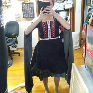 A selfie of Lossien in Jester's grey underdres and blue overdress, holding the camera in front of her face.