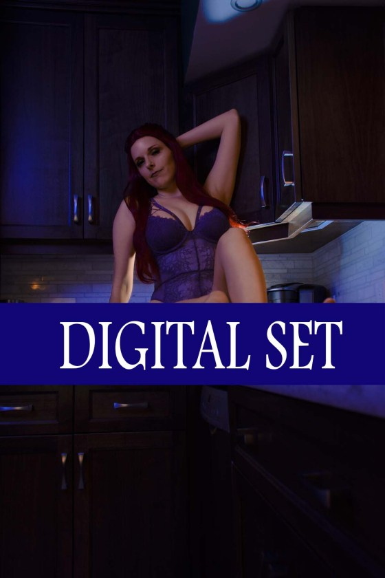 Lossien sitting on a kitchen counter with orange skin wearing purple lingerie. The words 'Digital Set' are across the lower third in white on a navy bar.