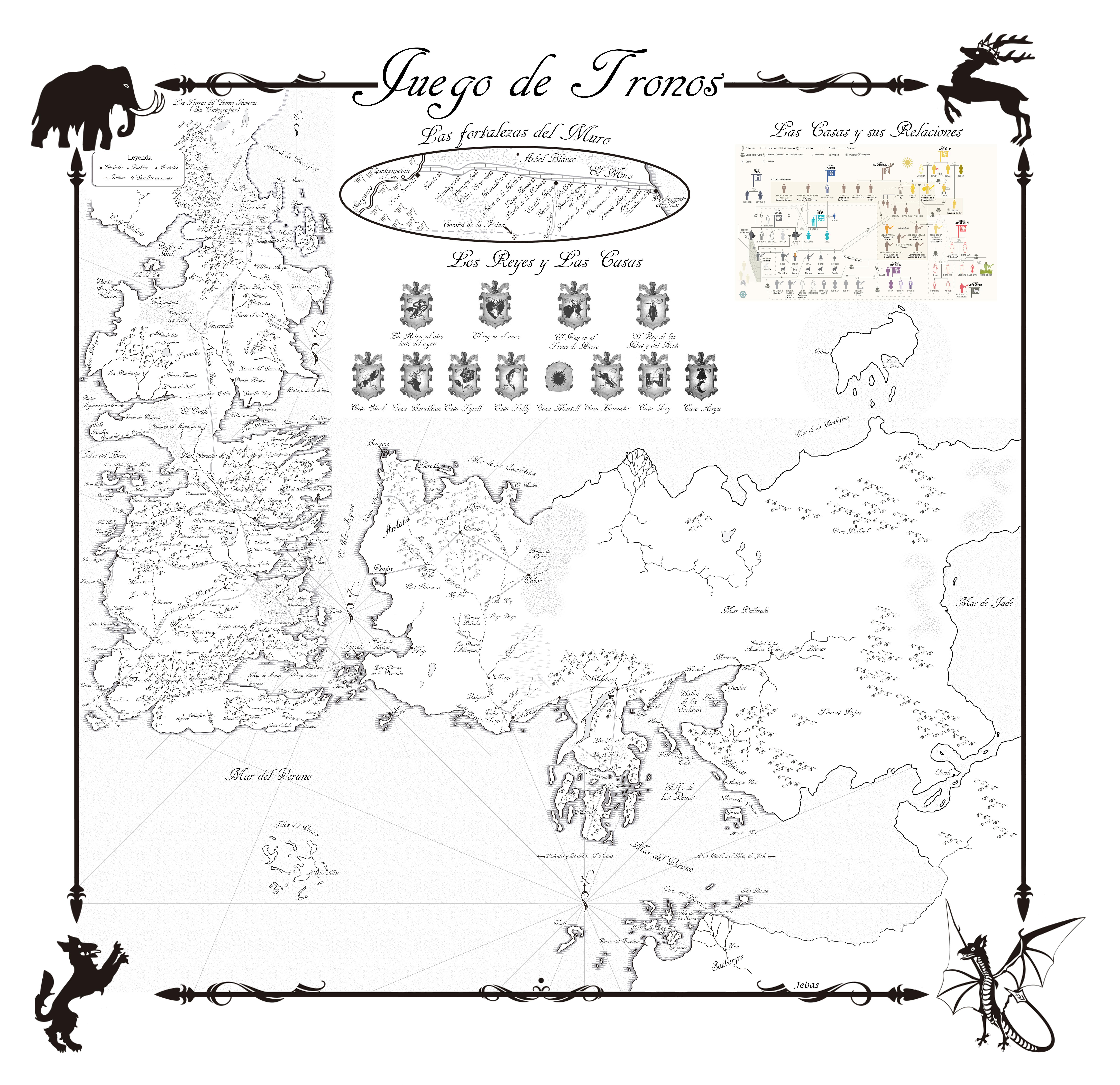 Mapa en español de JUEGO DE TRONOS