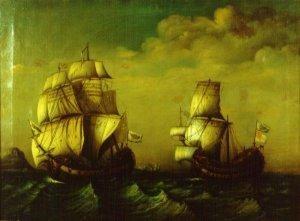 """Fragata de Blas de Lezo remolcando al buque británico """"Stanhope"""". Pintura de 1770."""