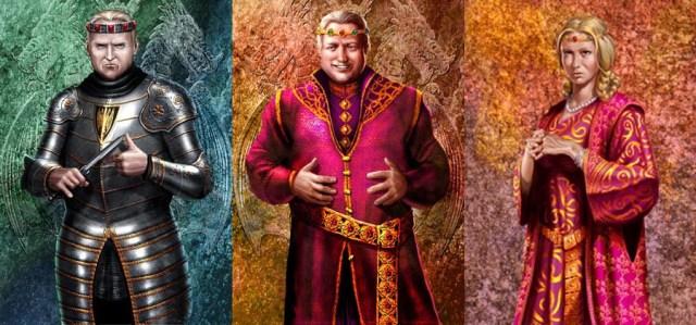 Viserys I (en el centro), con Rhaenyra y Aegon, por Amok