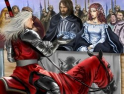 Rhaegar Targaryen coronando a Lyanna Stark con una corona de rosas azules invernales.