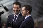 "David Benioff and Dan Weiss, creators and executive producers, arrive for the season premiere of HBO's ""Game of Thrones"" in San Francisco"
