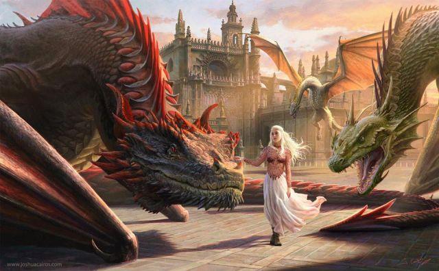 Daenerys y los dragones, por Joshua Cairós
