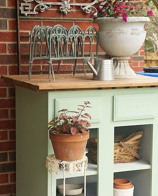 Turning a Repurposed Cabinet Into a Handsome Potting Bench with Fusion Mineral Paint