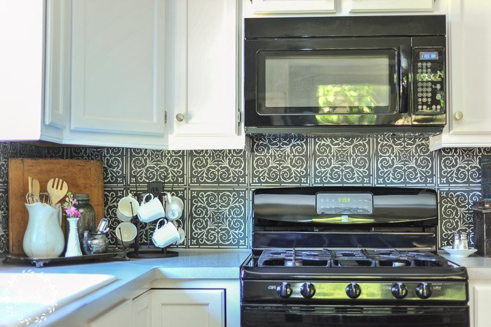 Diy High End Patterned Tile Backsplash Look With Peel
