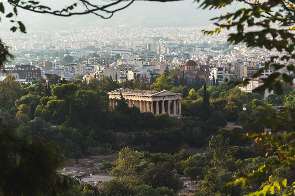 Photo of Temple of Hephaestus in Athens Greece.