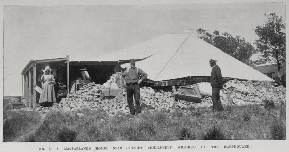 Mr. D. S MacFarlane's House near Cheviot, completely wrecked by the earthquake.