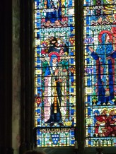 Stained-glass window showing St Etheldreda